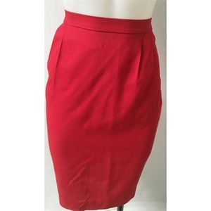 Vintage Red Pencil Skirt Size 12